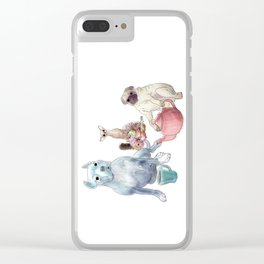 The pitbull pug and chi sat down for some tea Clear iPhone Case