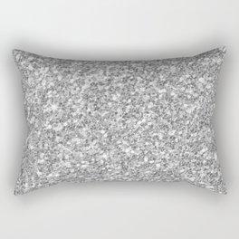 Silver Gray Glitter Rectangular Pillow