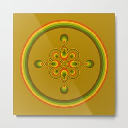 70s Circle Designs - Orange, Brown, Green Metal Print