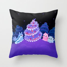 Merry christmas tree worm Throw Pillow