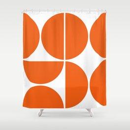 Mid Century Modern Orange Square Shower Curtain