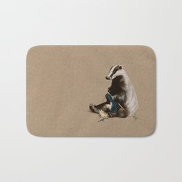 Badger Knitting a Scarf Bath Mat