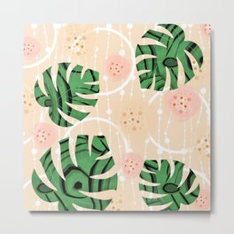 Monstera on beige background. Metal Print