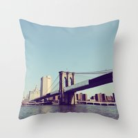 brooklyn bridge Throw Pillows featuring Brooklyn Bridge  by Shilpa
