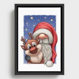 Little Santa and his little reindeer Framed Canvas
