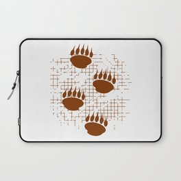 Bear Cub Paw Prints On Distressed Background Laptop Sleeve