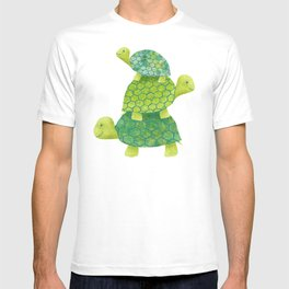 Turtle Stack Family in Teal and Lime Green T-shirt