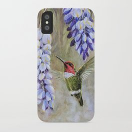 Anna's Hummingbird with Wisteria by Gamini Ratnavira  iPhone Case