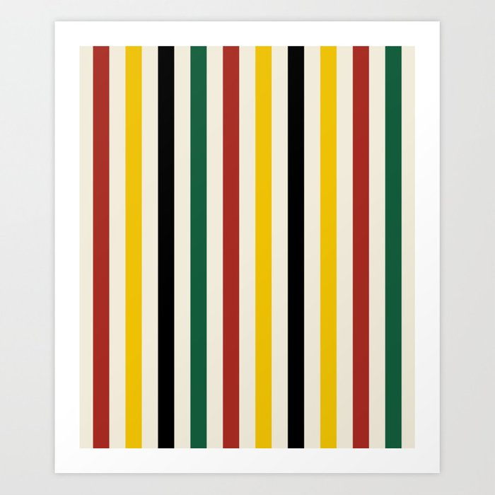 Rustic Lodge Stripes Black Yellow Red Green Kunstdrucke