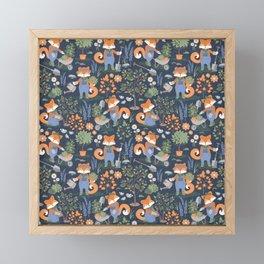 The foxy gardener // orange foxes Framed Mini Art Print