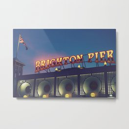 Brighton Pier By Night Metal Print