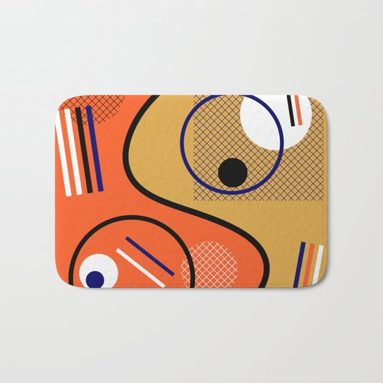 Opposing Sides - Abstract, orange and mustard, geometric, contrasting design Bath Mat