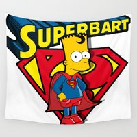 simpson Wall Tapestries featuring Superbart: the Simpsons superheroes (Bart Simpson meets Superman) by logoloco