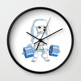 Poodle Weightlifting Deadlift Fitness Gym Design  Wall Clock