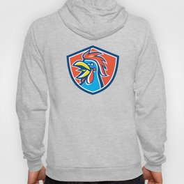Cockerel Rooster Crowing Head Shield Hoody