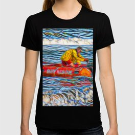 Abstract Surf rescue boat in action T-shirt