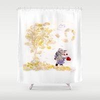 wind Shower Curtains featuring Wind by MARIA BOZINA - PRINT