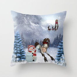 Christmas, funny cartoon horse with snowman Throw Pillow