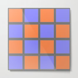Quilt Square Stitch Style - Purple Orange Metal Print