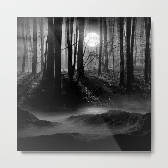 Mystical Dark & Eerie Forest with Moon (Black & White) Metal Print