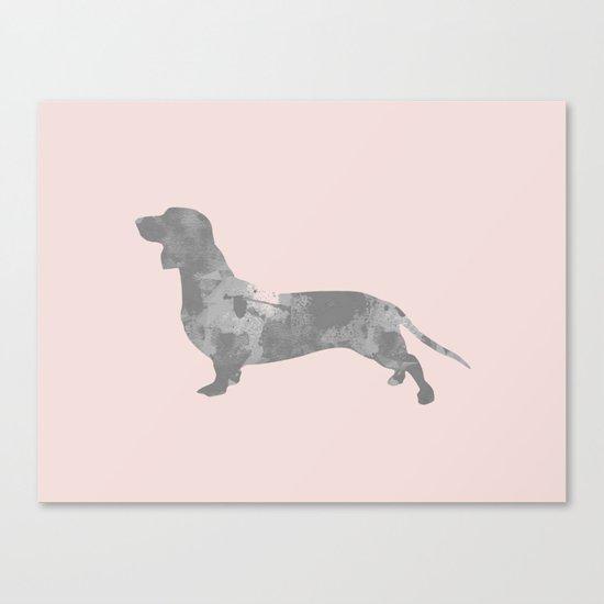 Dachshund pink and black Canvas Print