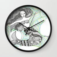 mermaids Wall Clocks featuring Mermaids by winnie patterson