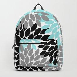 Aqua Black Gray Flower Burst Floral Pattern Backpack