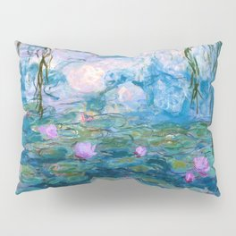 Water Lilies Monet Teal Pillow Sham