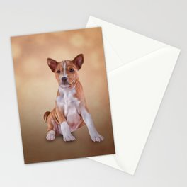 Drawing puppy breed Basenji Stationery Cards