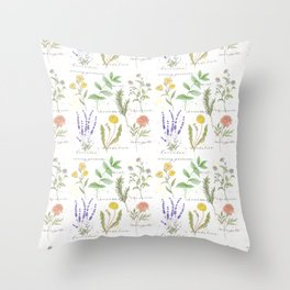 Medicinal Herbs Throw Pillow