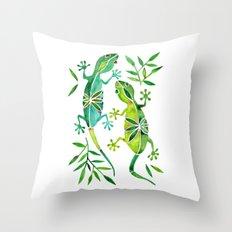 Geckos – Green Palette Throw Pillow