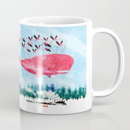 Flying Whale and steam train with Foxes Coffee Mug