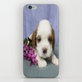 Puppy with flowers iPhone Skin