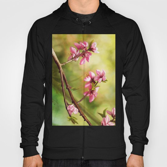 Spring and pink flowers on a branch Hoody
