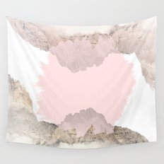 Pale Pink on Mountains Wall Tapestry