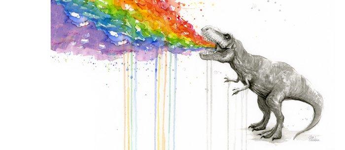 T-Rex Dinosaur Rainbow Puke Taste the Rainbow Watercolor Coffee Mug