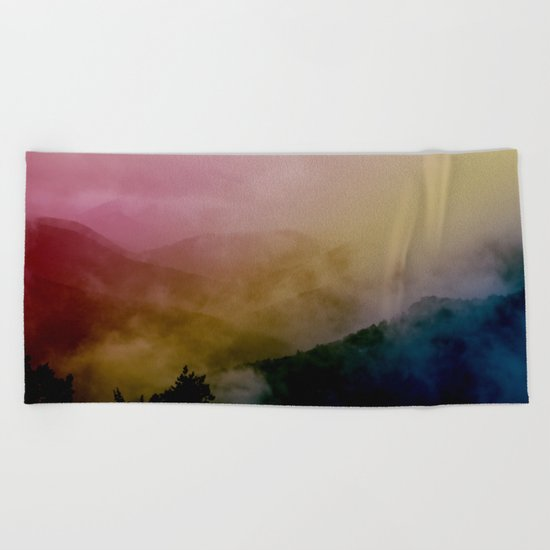 Foggy mountains Beach Towel