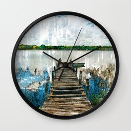 Old Wooden Jetty By Lake - Jetties Around The World Wall Clock