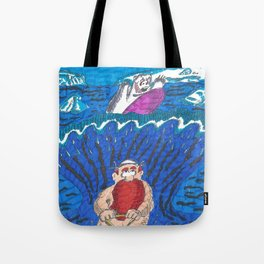 Water-ski, pursued by a surfing bear Tote Bag