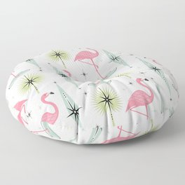 Atomic Flamingo Oasis - Larger Scale ©studioxtine Floor Pillow
