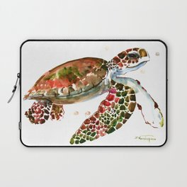 Sea Turtle, Brown, Olive green Pink Shades Laptop Sleeve