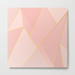 Elegant Pink Rose Gold Geometric Abstract Metal Print