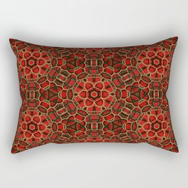Red Green and Gold Beadwork Inspired Print Rectangular Pillow