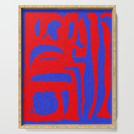Abstract in Blue and Red I Serving Tray