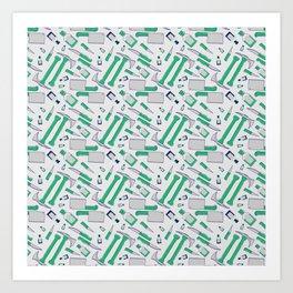 Murder pattern Green Art Print