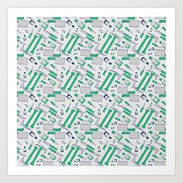 Murder pattern Green Art Print
