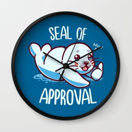 cute seal of approval Wall Clock