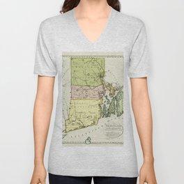 1797 Colonial Era Map of Rhode Island and Narragansett Bay Unisex V-Neck