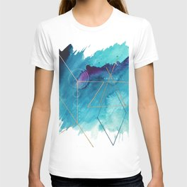 Galaxy Series [1]: an abstract mixed media piece in blue, purple, white, and gold T-shirt