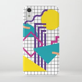Memphis Pattern - 80s Retro White iPhone Case